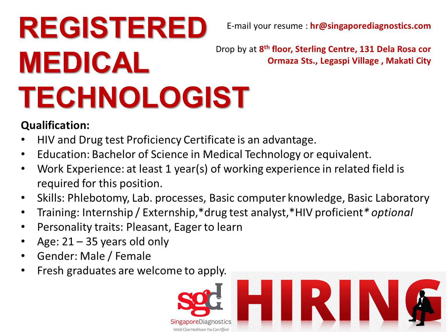 Registered Medical Technologist
